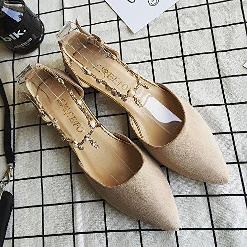 RUGAI-UE Los tacones altos mujeres hebilla áspero verano zapatos de punta Beige