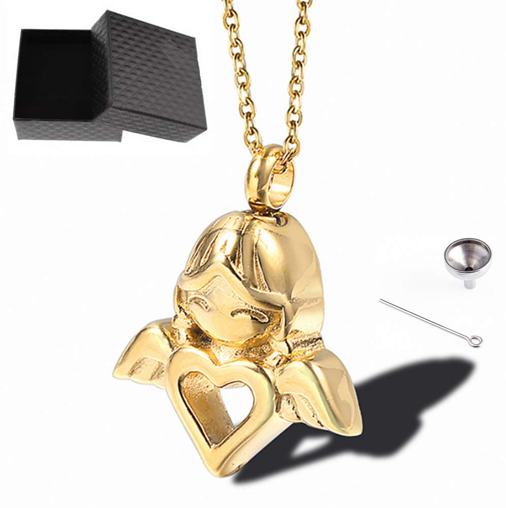Angel Jewelry Stainless Steel Cremation Urn Pendant Cat Dog Ashes Necklace for Unisex Boy Girl Men