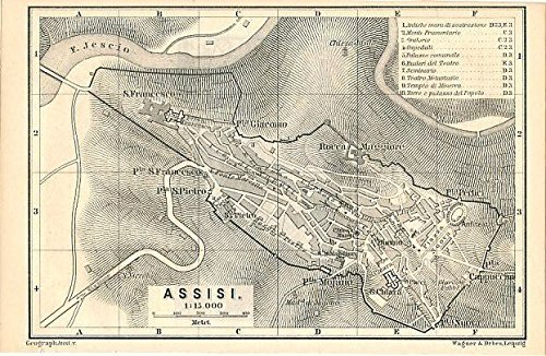 Amazon Com Assisi Italy 1884 Color Lithograph City Plan Map