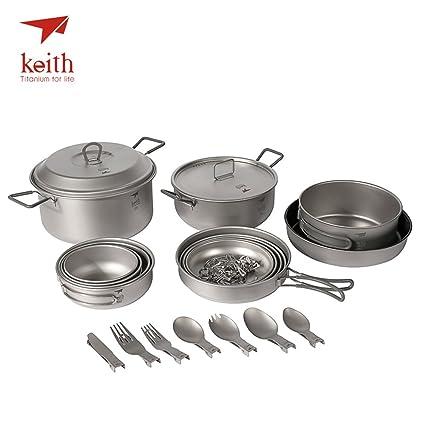 Keith – Juego de titanio juego de macetas portátil Eco-friendly Pure titanio para colgar