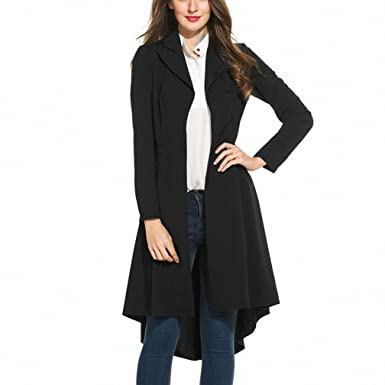 Women Lapel Trench NEW Spring Coat Open Front High Low Hem Lightweight Long  Slim Trench Coat a3c59743e