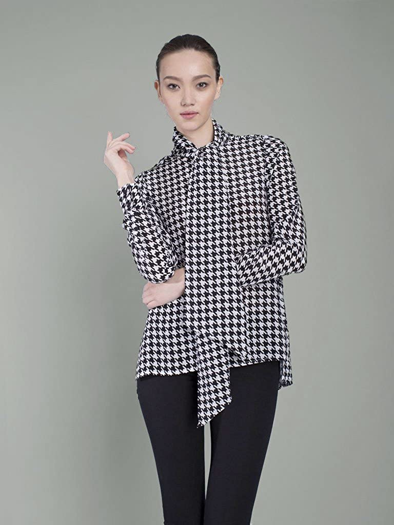 844ab92123d3fa The Cassie Houndstooth Pussy Bow Blouse at Amazon Women's Clothing store: