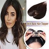 Elailite Silk Base Human Hair Toppers Women Clip in Top Hairpiece Toupee Tinning Hair Black (#2 Dark Brown)