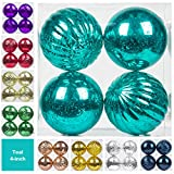 "KI Store Christmas Ball Ornaments Hanging Tree Ornament Decorations 4"" Large Shatterproof Vintage Mercury Balls(Teal)"