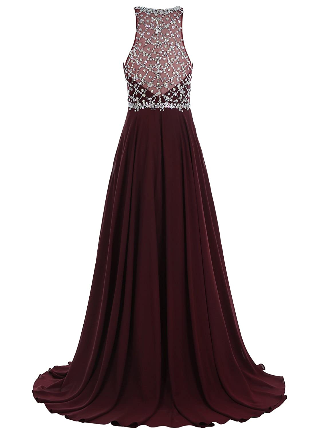 Amazon.com: Bbonlinedress Long Chiffon Prom Dresses Beadings Sequined A-Line Sleeveless Evening Gowns: Clothing