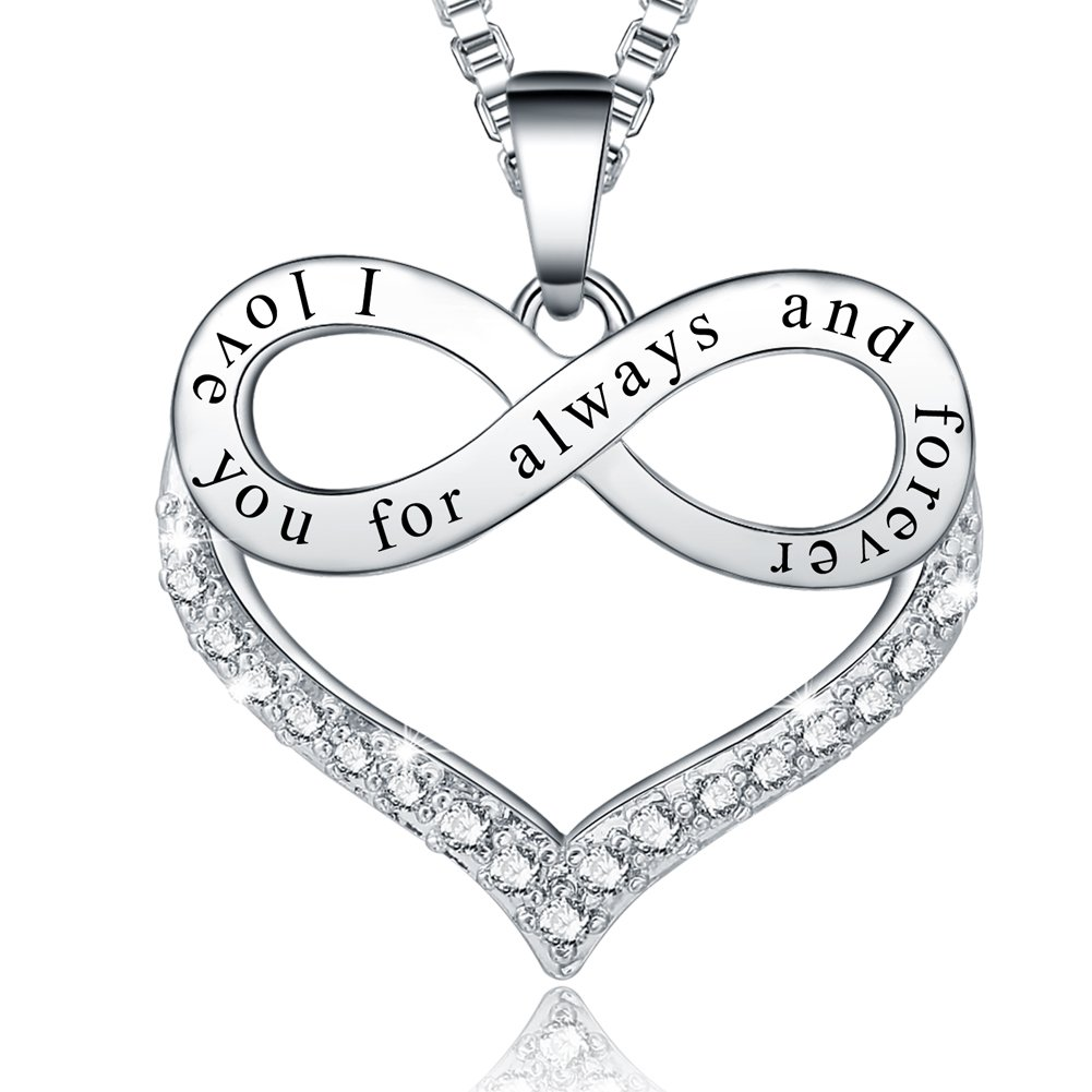 Her Birthday Gifts - 'I Love You for Always and Forever' Infinity Heart Pendant Necklace - Fashion Jewelry for Women Girls - Anniversary Present for Girlfriend, Wife, Sister, Grandma, Mom