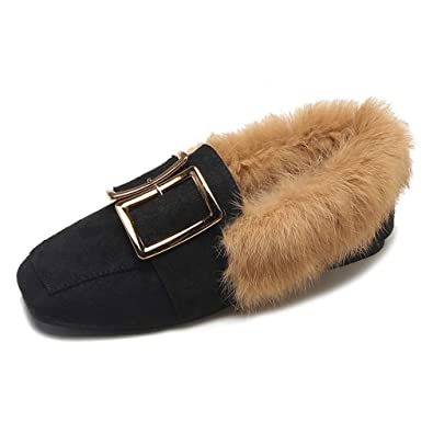 7e2f0ba0b44 CYBLING Women s Faux Fur Lined Suede Loafers Comfort Metal Accent Slip-on  Moccasins Black
