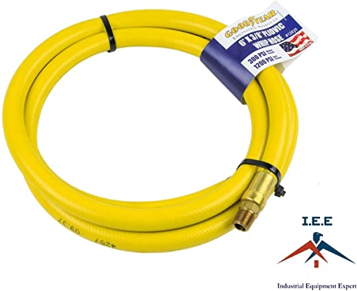 """Goodyear Pliovic Hose Whip 6/' ft x 3//8/"""" in 300 PSI Air Compressor Hose 12835"""