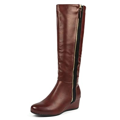 a6062c8f72b5 DREAM PAIRS Women s Consta Burgundy Low Wedge Knee High Winter Boots Size 5 M  US