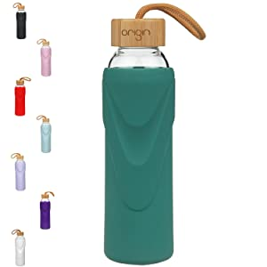 Origin Best BPA-Free Borosilicate Glass Water Bottle with Protective Silicone Sleeve and Bamboo Lid - Dishwasher Safe