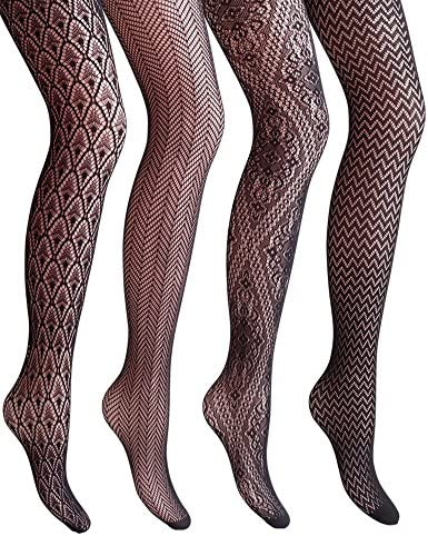 VERO MONTE 4 Pairs Women's Hollow Out Fishnet Pantyhose Tights