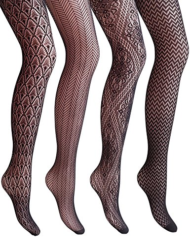 VERO MONTE 4 Styles Women Fishnet Tights Patterned Fishnets Stockings Small ()