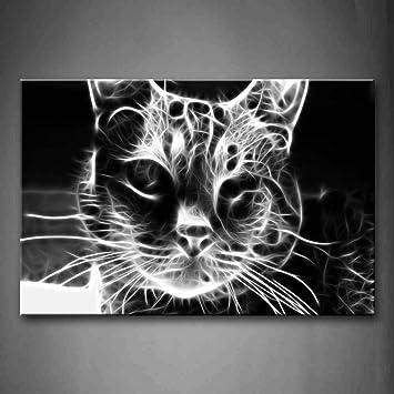 Blanco y Negro Gato Cabeza Retrato pared arte pintura fotos impresión sobre lienzo Animal la imagen para decoración de hogar moderno: Amazon.es: Hogar