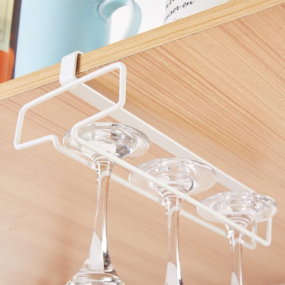 Alliebe Stemware Wine Glass Cup Rack Hanger Holder Under Cabinet Shelf Storage Without Drilling for Kitchen Set of 2