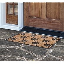 MILLIARD 'Fleur De Lis' Eco-Friendly Decorative Coco Coir Outdoor Entrance Doormat - 18in.x30in.