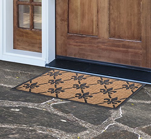 MILLIARD 'Fleur De Lis' Eco-Friendly Decorative Coco Coir Outdoor Entrance Doormat - 18in.x30in.