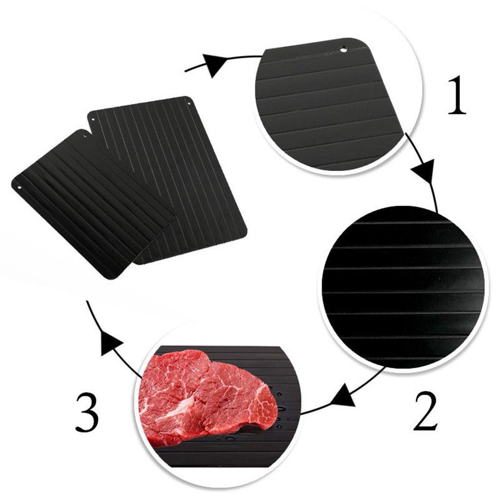 Negro CGBOOM Bandeja para Descongelar Placa Descongeladora de Alimentos R/ápida y Con Seguridad Antimicrobial Deshielo Plato