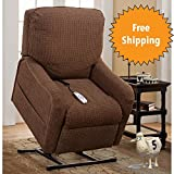 Serta Perfect Lift Chair Recliner: Is a Plush Comfort Recliner with Gel-Infused Foam -Hand Control with 2 Large LED Buttons and USB Charging Port (Chestnut 820)