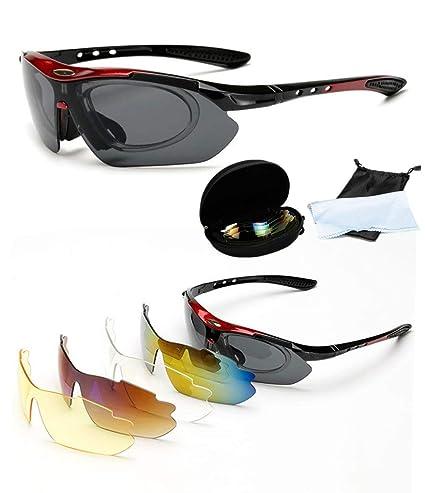 601de8cabe Charlemain Protección Gafas de Sol polarizadas de Deportivas con 5 Lentes  Intercambiables para el esquí conducción