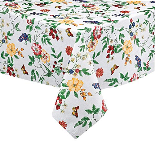 English Berry Garden Heavy 4 Gauge Vinyl Flannel Backed Tablecloth, Strawberry Garden Floral Indoor/Outdoor Wipe Clean Picnic, Kitchen, Dining Room Tablecloth - 70