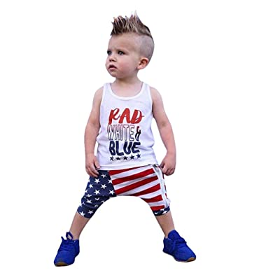 330ce124ae8 ®GBSELL Toddler Girls Boy Independence Day Clothes Letter Top + Stars  Striped ZipperPant