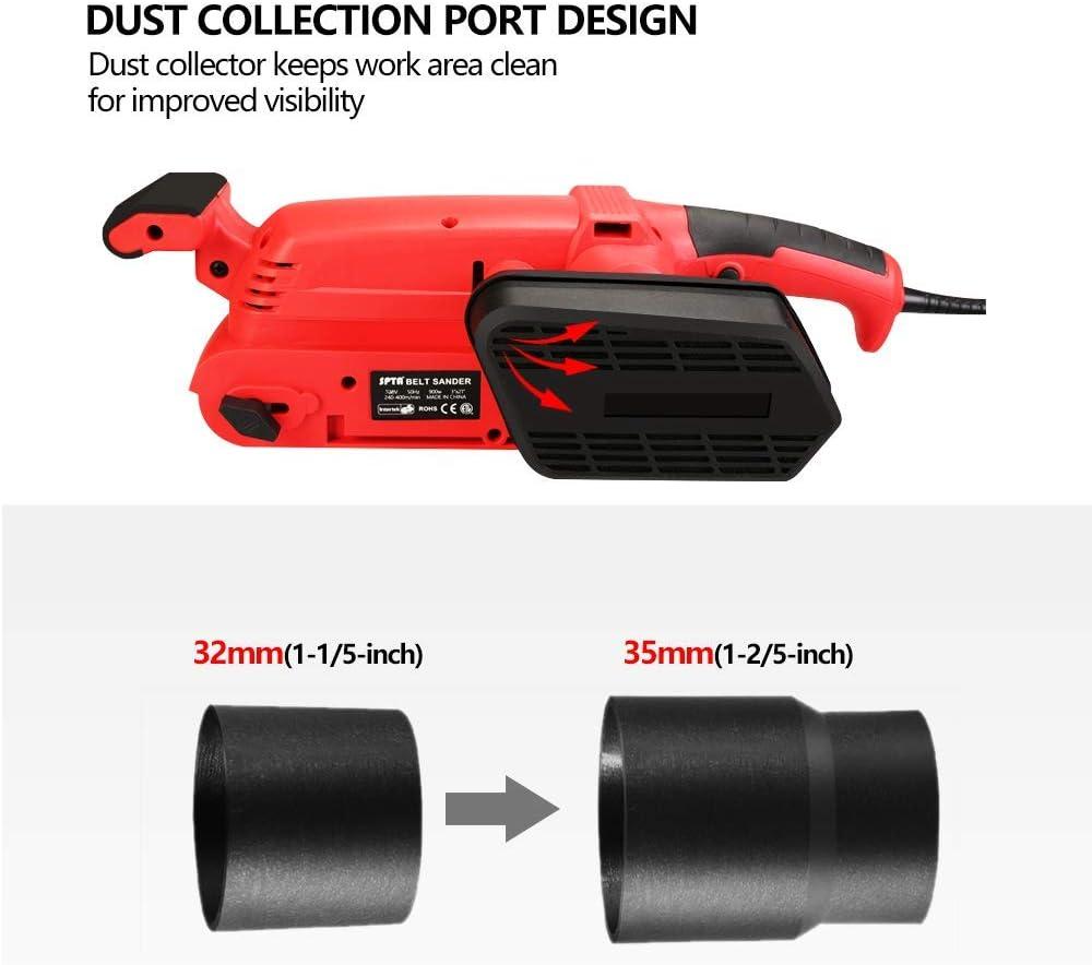6 vitesses de pon/çage SPTA 900W Ponceuse /à bande 75 mm avec 15 feuilles de papier de sable 75 x 457 mm 360-560RPM avec 2 adaptateurs d/'aspirateur et 2 serre-joints