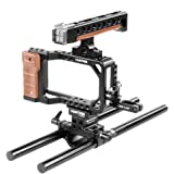 CAMTREE Hunt Professional Aluminum Camera Cage For Blackmagic Pocket Cinema Camera BMPCC with Top Handle + Cold Shoes + 15mm Rod Support | Tripod & Accessories Mounting Options (CH-PC-BMPC)