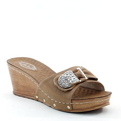 f040778ceda97b Brieten Women s Metallic Ornaments Rhinestone Bowknot Platform Wedge Slide  Sandals (6.5