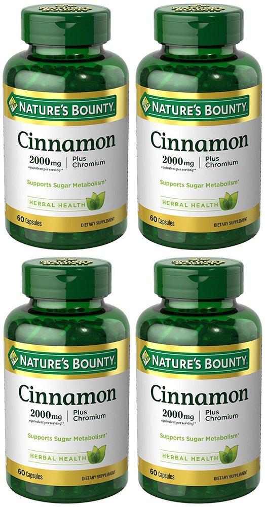 Cinnamon 2000mg, Plus Chromium, 4 Bottles (60 Count)