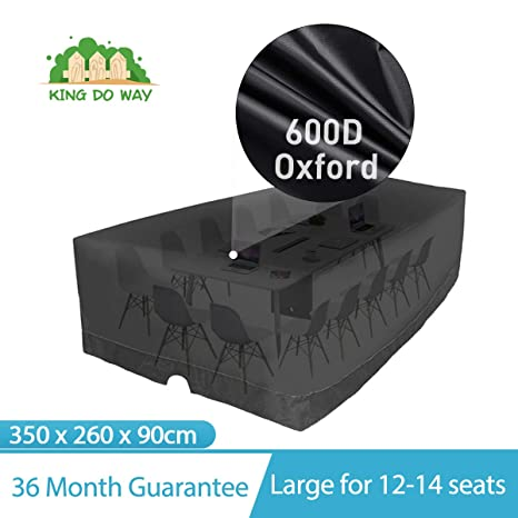 king do way Funda para Muebles de Jardín 350x260x90cm para mesas sillas Exterior terraza, Juego de Muebles Cubierta Impermeable, 600D, Resistente UV