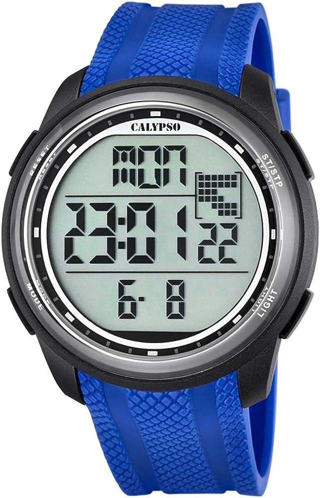 Calypso de Hombre Reloj de Pulsera Sport Digital PU Reloj de Pulsera Azul de Cuarzo Esfera Negro uk5704/3