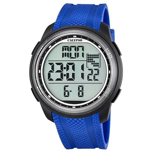 Calypso hombre-reloj deporte digital PU-pulsera azul cuarzo-reloj esfera negro UK5704/3: Calypso: Amazon.es: Relojes