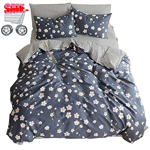 XiXiLi Vintage Flower Printed Bedding Duvet Cover Set Queen Cotton Sateen Romantic Floral Duvet Cover with 2 Pillow Shams Reversible Striped Bedding Sets Full/Queen Size (Queen, Daisy)