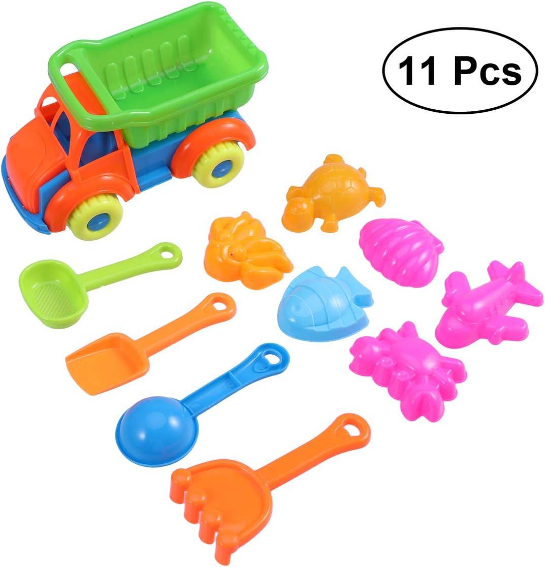 Toyvian - Juego de Juguetes de Playa para niños, Caja de Arena de plástico, Juguetes de Playa para niños, Juego de Piscina de Juguete, Incluye moldes de Arena y camión, 11 Unidades