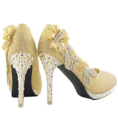 0d40d8be8751 getmorebeauty Women s Silver Lace Flower Pearls Closed Toes Wedding Shoes  Pumps (5 B(M