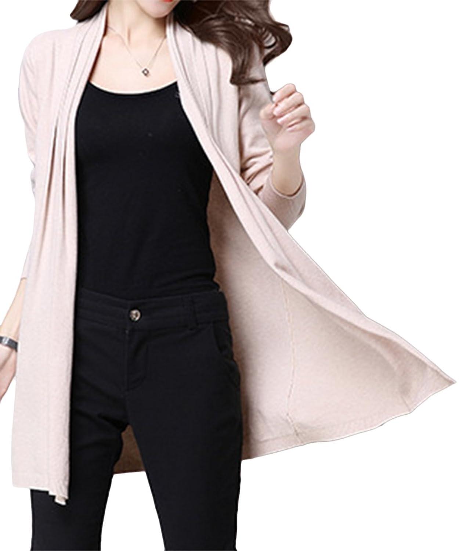 AsherFashion Women's Long Sleeve Open Drape Cardigan Sweater