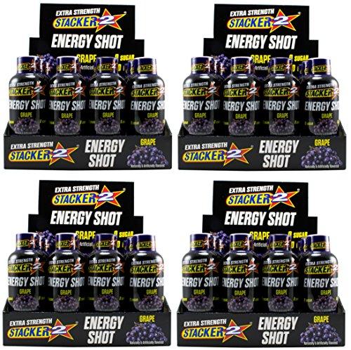 Stacker 2 Extra Strength Energy Shots, Grape, 12 Bottles, 2 fl oz in each Shot (4) -