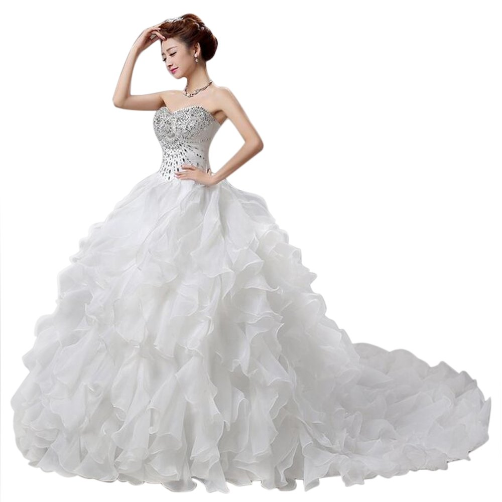 LIWA Beading Ruffles Long Wedding Dress Strapless Court Train Bandage Tutu Bridal Veil (small, white) by LIWA (Image #3)