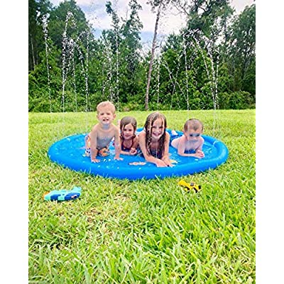 Kimi House 68inch Splash Play Mat,Sprinkler Pad, Wading Pool,Water Toys, Yard Summer Sprinkler Toys, Outdoor Summer Toys for Toddlers and Kids, Perfect: Toys & Games
