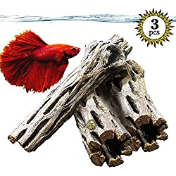Natural Betta Wood by SunGrow - 3 Pieces - Perfect Cholla Wood Toy for Betta fish - Each Piece is 6 inches Long - Organic softwood, no thorns - Great for Aquarium Decoration