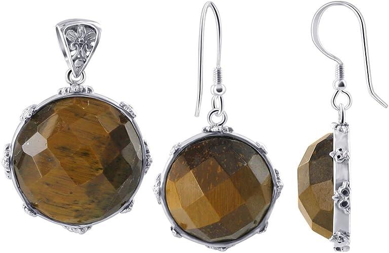 Gran de Ojo de Tigre colgante de piedras preciosas de plata esterlina 925-en Caja De Regalo!