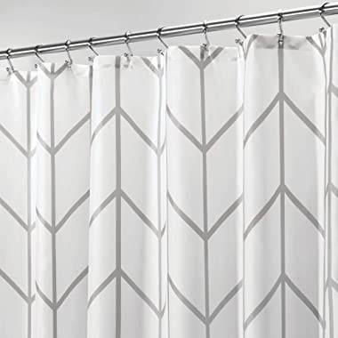 mDesign Decorative Chevron Zig-Zag Print - Easy Care Fabric Shower Curtain with Reinforced Buttonholes, for Bathroom Showers, Stalls and Bathtubs, Machine Washable - 72  x 72  - Gray/White