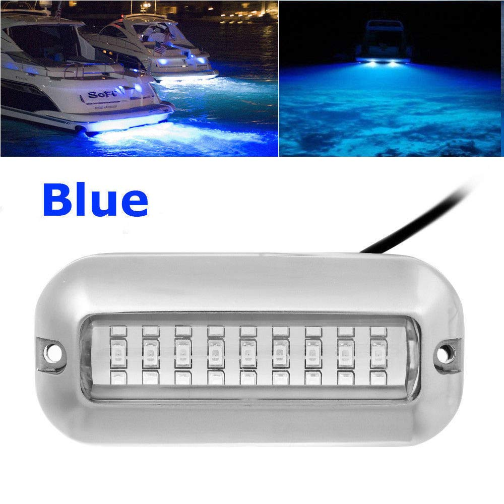 DDSKY 4-Pack 27 LED Underwater Pontoon Marine Boat Transom Lights 50W Stainless Steel Waterproof IP68 LED Ship Beam Light Fishing Night Light, Blue by DDSKY