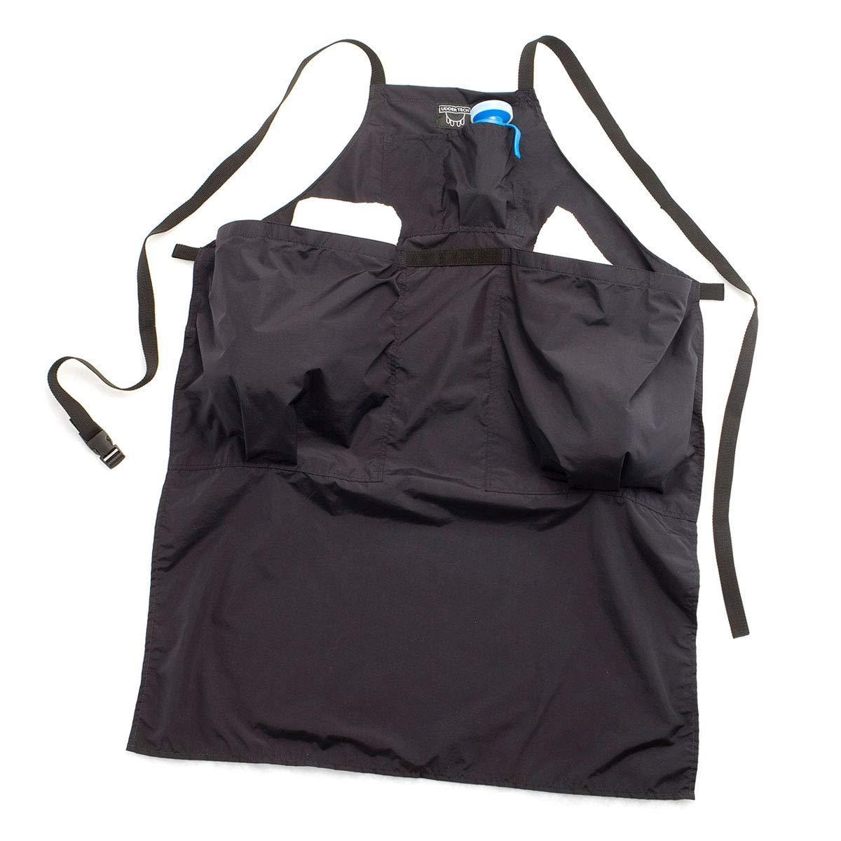 Waterproof Cloth Towel Apron, Large, 2-Pocket, Black by Udder Tech
