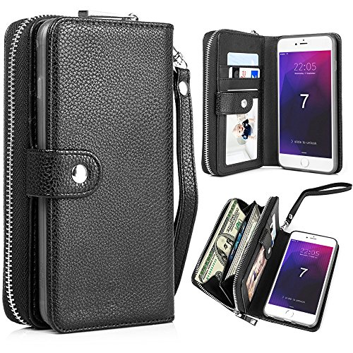 PASONOMI iPhone 8 Case, iPhone 7 Zipper Wallet Case, PU Leather Protective Shell Detachable Folio Flip Holster Carrying Case with Strap and Card Holder for iPhone 8 (2017)/iPhone 7 (2016) (Black) Leather Wallet Carrying Case