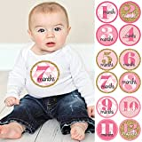 Geometric Pink & Gold - Baby Girl Monthly Sticker Set - Baby Shower Gift Ideas - 12 Piece