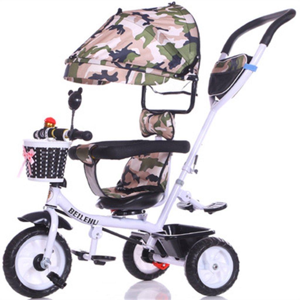 4-in-1 Kinder Dreirad Paw Patrol, Multifunktions Trolley Fahrrad Kinder Push Trikes für Baby 3 Rad Fahrrad mit Anti-UV Markise (Weiß Bike + Camouflage Markise) (Farbe   A)