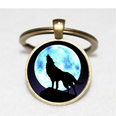 Huang Nine-sisters Charm llavero de lobo. Luna arte llavero ...