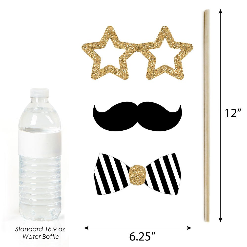 2019 New Years Photo Booth Props Kit Gold New Years Eve Party 20 Count
