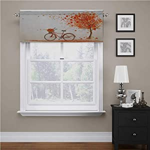 "Bicycle Window Curtain Valance Autumn Tree with Aged Old Bike and Fall Tree November Day Fall Season Park Nature Theme Rod Pocket Matches with Panels Orange, 42"" x 18"""